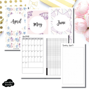 PERSONAL TN Size | 2018 APRIL - JUNE | FULL Month Daily (Dot Grid) | Printable TN Insert ©