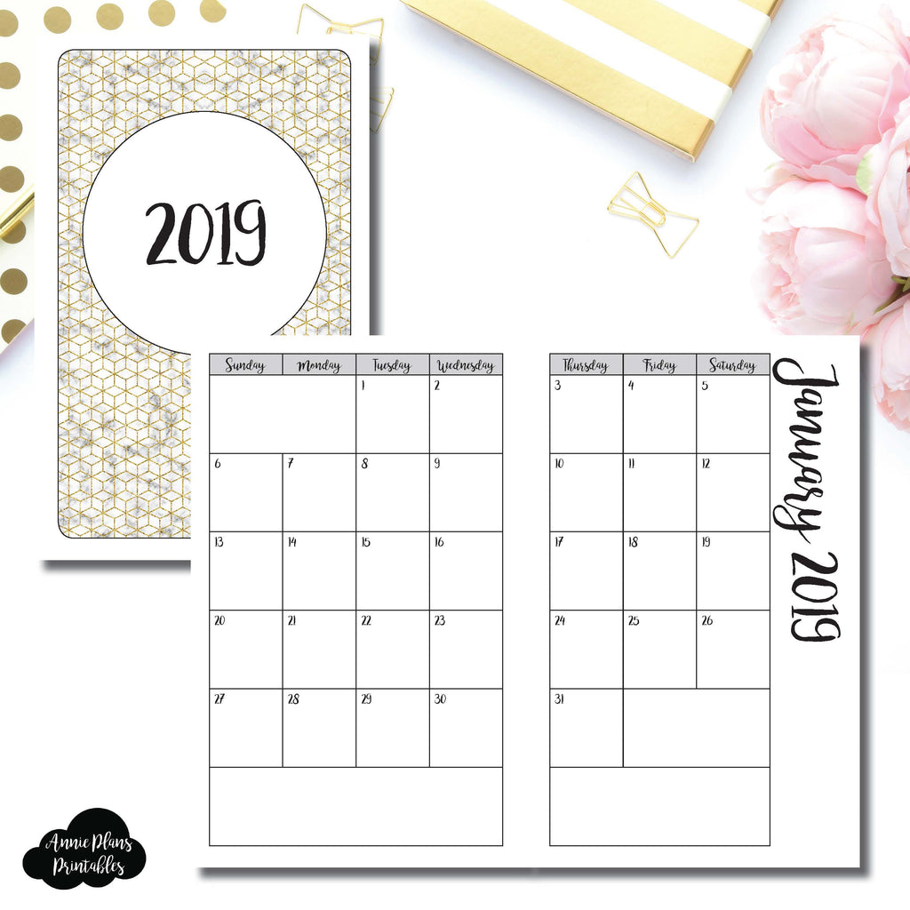 image relating to Annie Plans Printables named Pocket TN Dimension 2019 Regular Calendar (SUNDAY Commence) PRINTABLE Incorporate ©