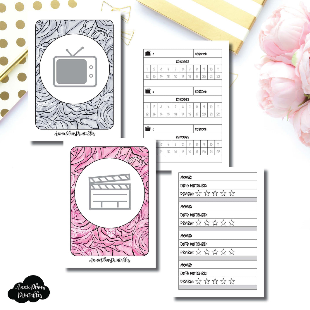 MICRO TN Size | TV & Movie Tracker Bundle Printable Insert ©