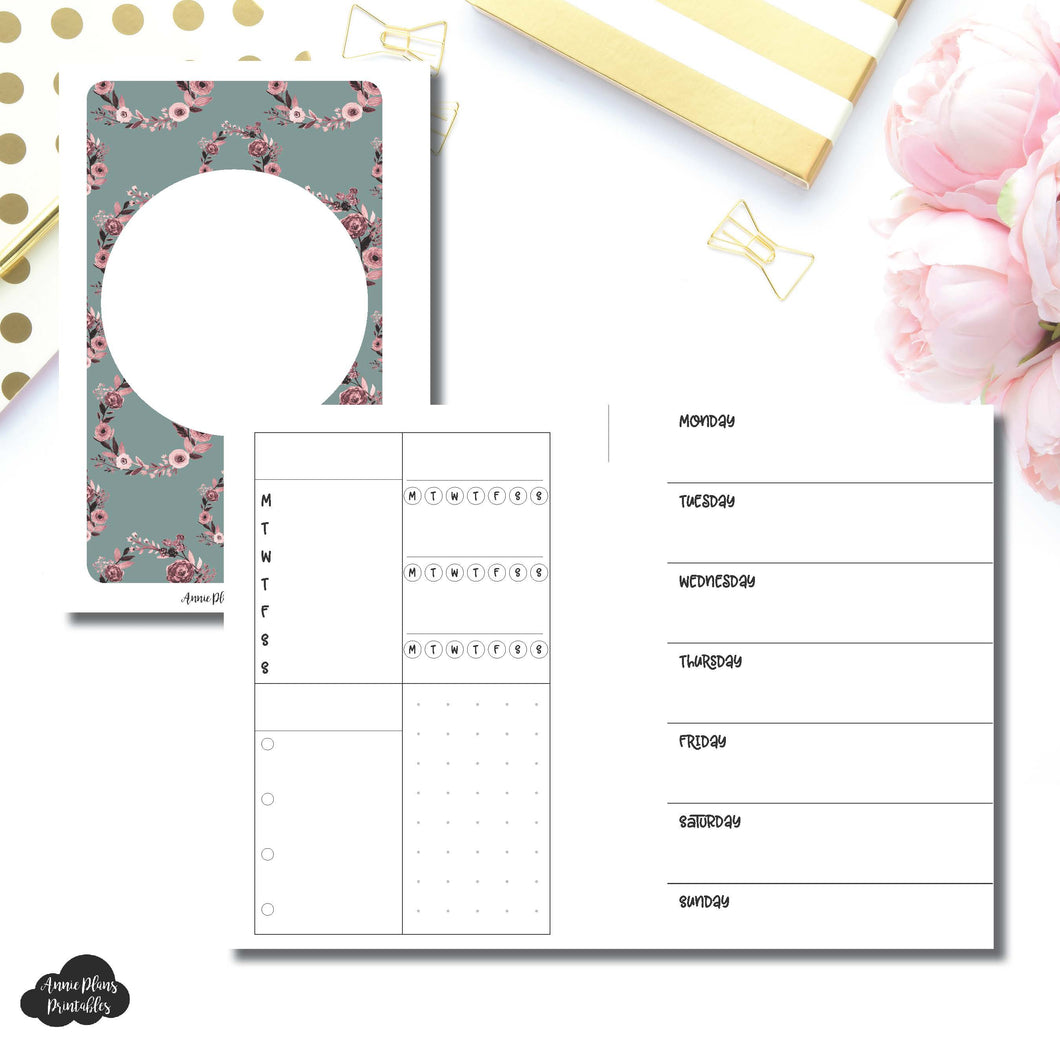 Pocket Rings Size | Undated Horizontal Week on 2 Page Layout Printable Insert ©