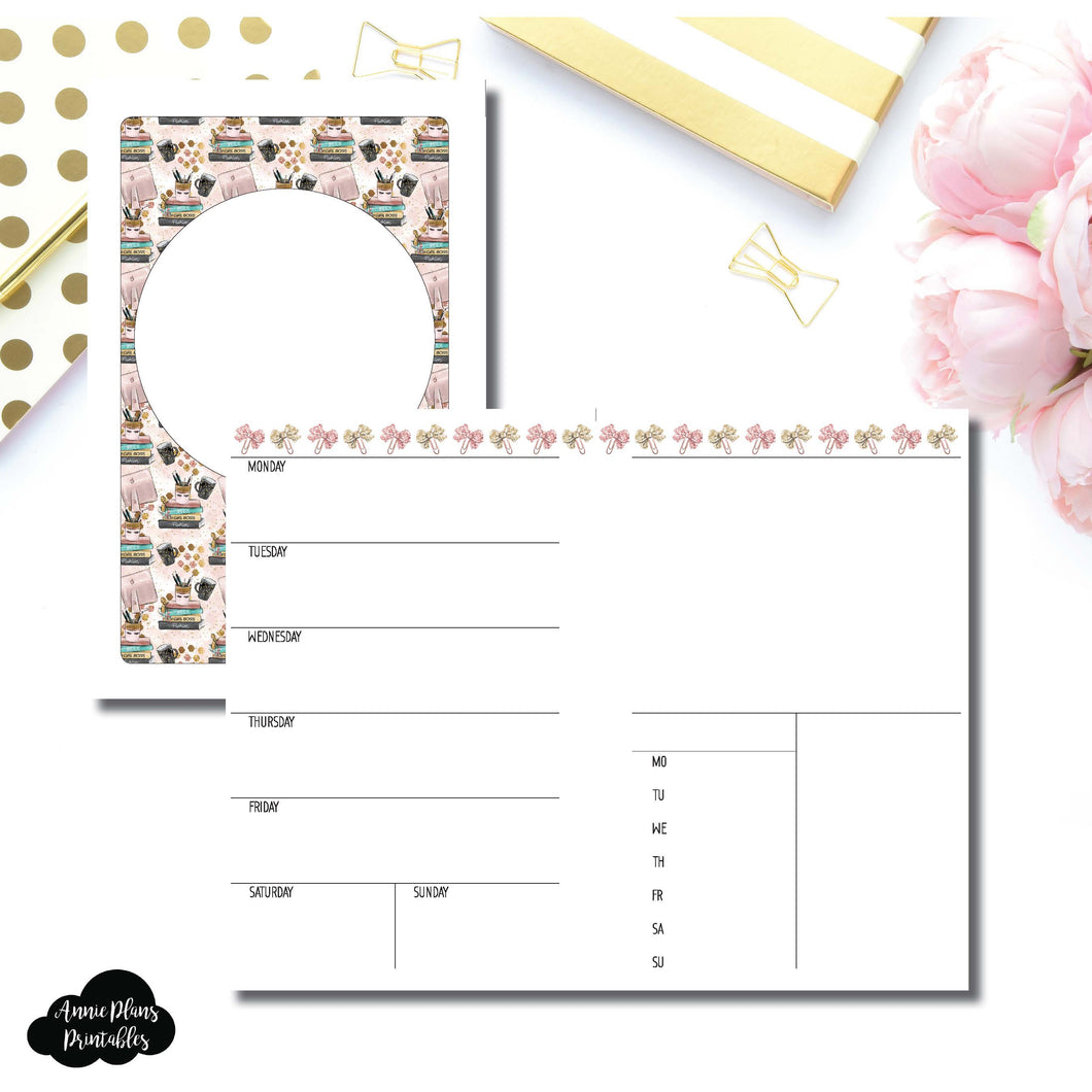 Half Letter Rings Size | Undated Week on 2 Page Collaboration Printable Insert ©
