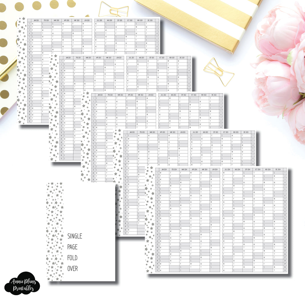 A6 Rings Size | 2020 - 2024 Single Page Year at a Glance Printable Insert ©