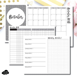 B6 Slim TN Size | OCT 2018 | Month/Weekly/Daily GRID (Monday Start) Printable Insert ©