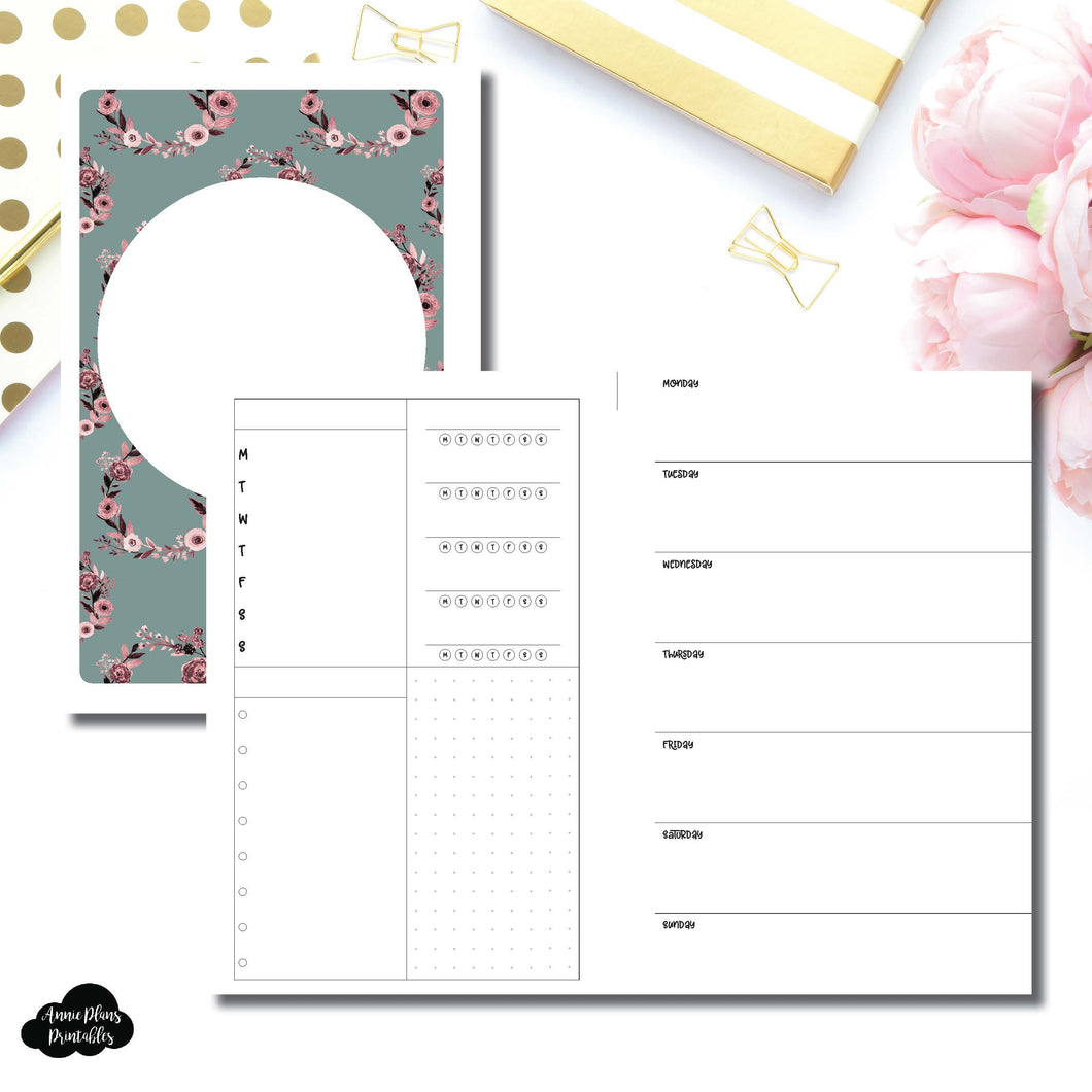 Half Letter Rings Size | Undated Horizontal Week on 2 Page Layout Printable Insert ©