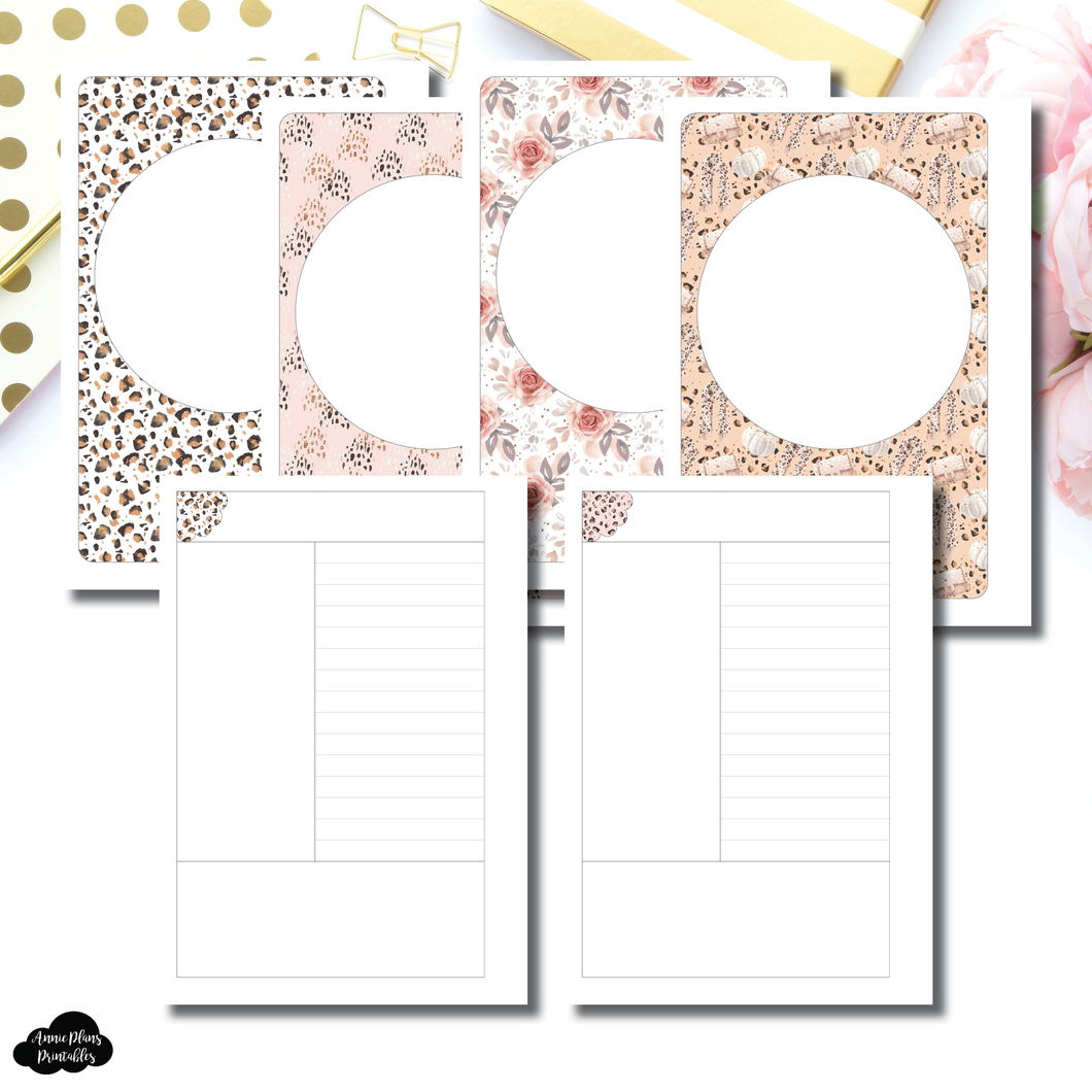 Pocket Plus Rings Size | Fall Cornell Notes Style Layout Printable Insert