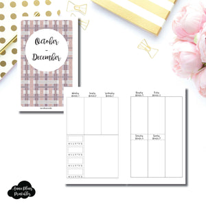 Mini HP Size | OCT - DEC 2018 | BASIC Vertical Week on 2 Page (Monday Start) With Trackers Printable Insert ©