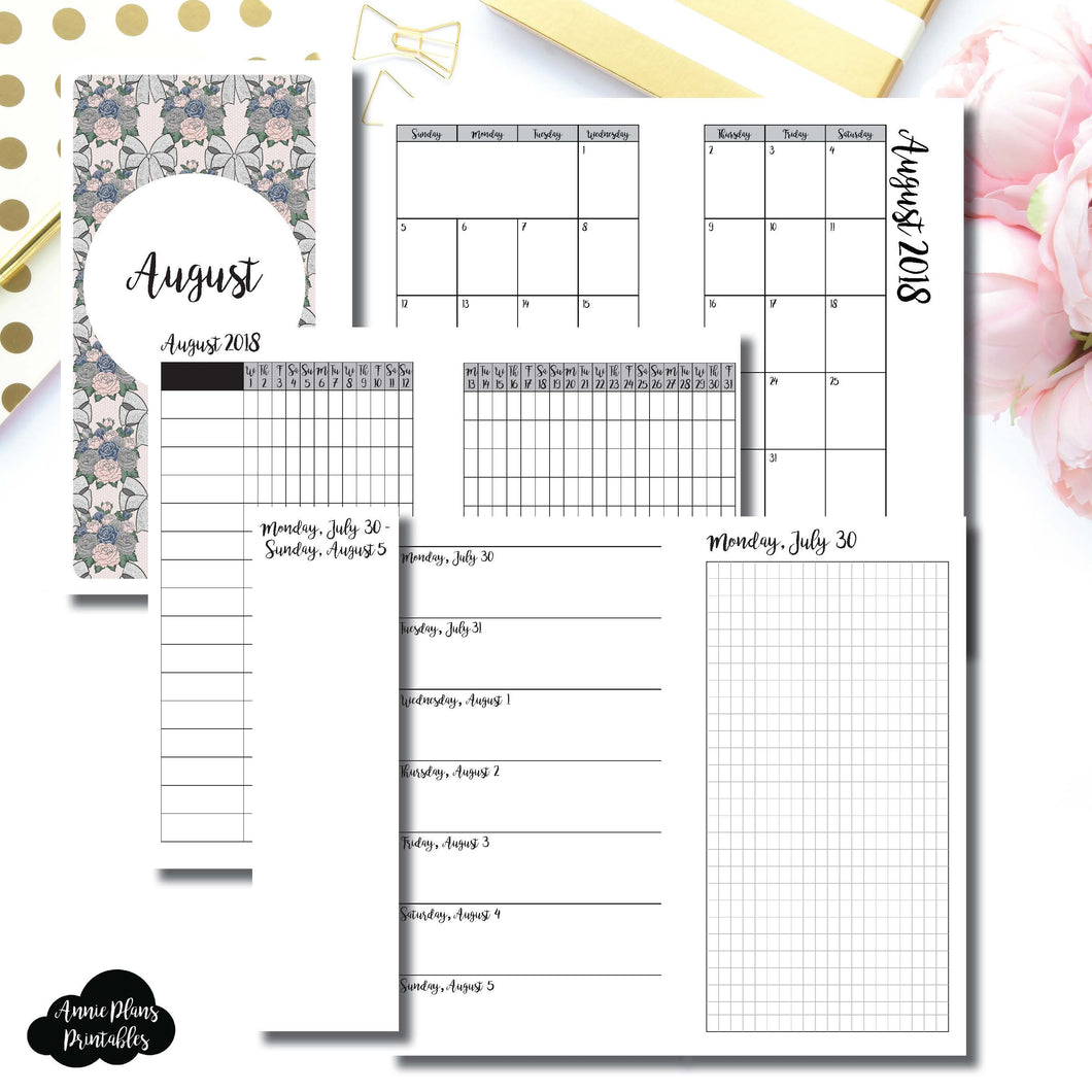 Personal Rings Size | AUGUST 2018 | Month/Weekly/Daily GRID (Monday Start) Printable Insert ©