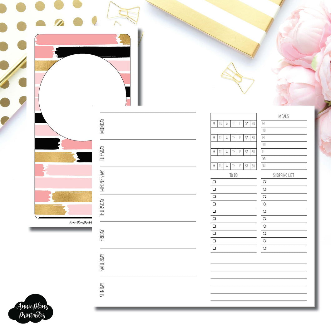 Personal TN Size | Undated Week on 2 Page with Trackers Printable Insert ©