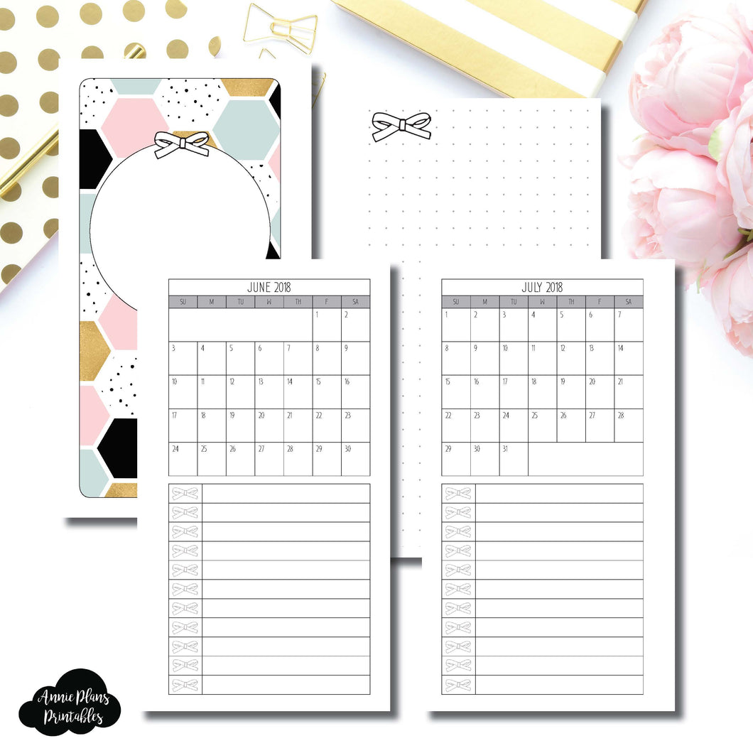 Personal Rings Size | JUNE 2018 - JULY 2019 Single Page Monthly Printable Insert ©