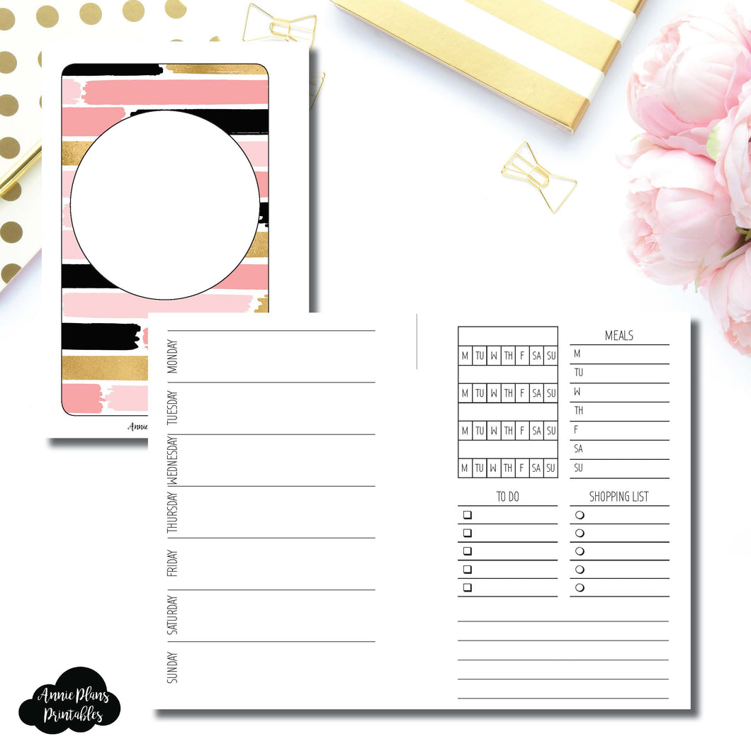 Pocket Rings Size | Undated Week on 2 Page with Trackers Printable Insert ©
