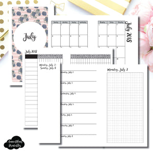 Personal Rings Size | JULY 2018 | Month/Weekly/Daily GRID (Monday Start) Printable Insert ©
