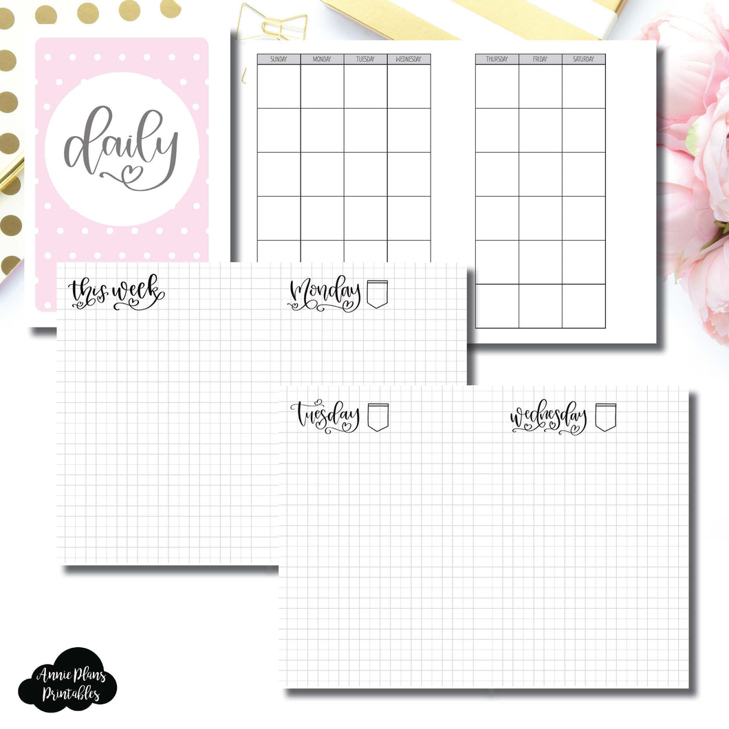 A6 Rings Size | SeeAmyDraw Undated Daily Grid Collaboration Printable Insert ©