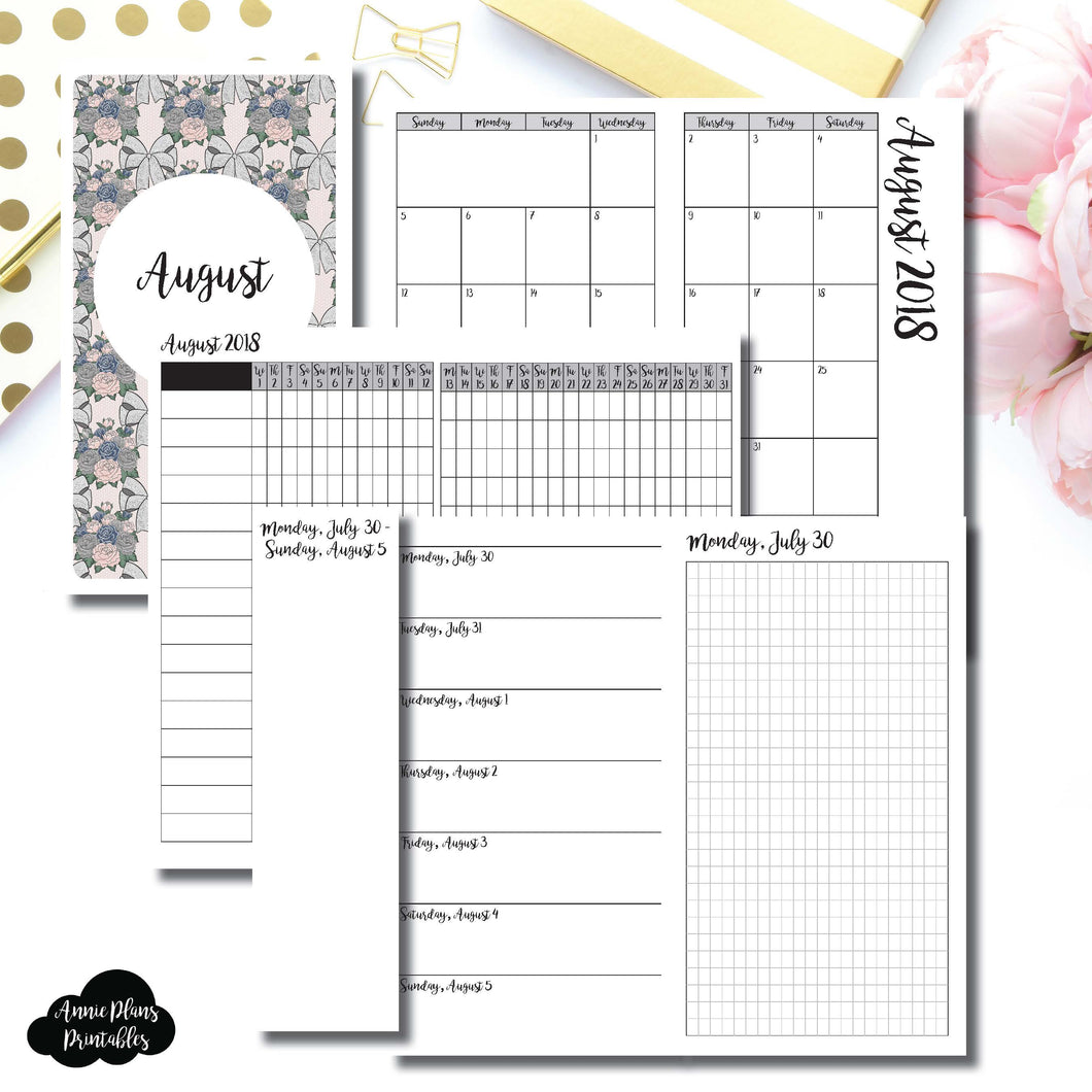 Personal TN Size | AUGUST 2018 | Month/Weekly/Daily GRID (Monday Start) Printable Insert ©