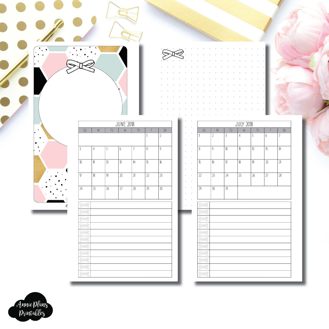 Mini HP Size | JUNE 2018 - JULY 2019 Single Page Monthly Printable Insert ©