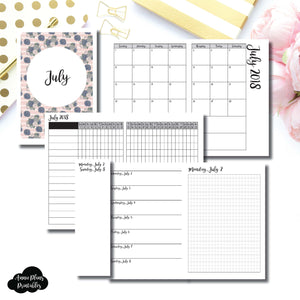 A6 TN Size | JULY 2018 | Month/Weekly/Daily GRID (Monday Start) Printable Insert ©