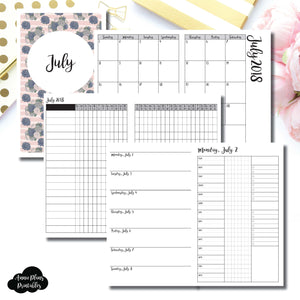 Cahier TN Size | JULY 2018 | Month/Weekly/Daily 3 COLUMN TIMED (Monday Start) Printable Insert ©