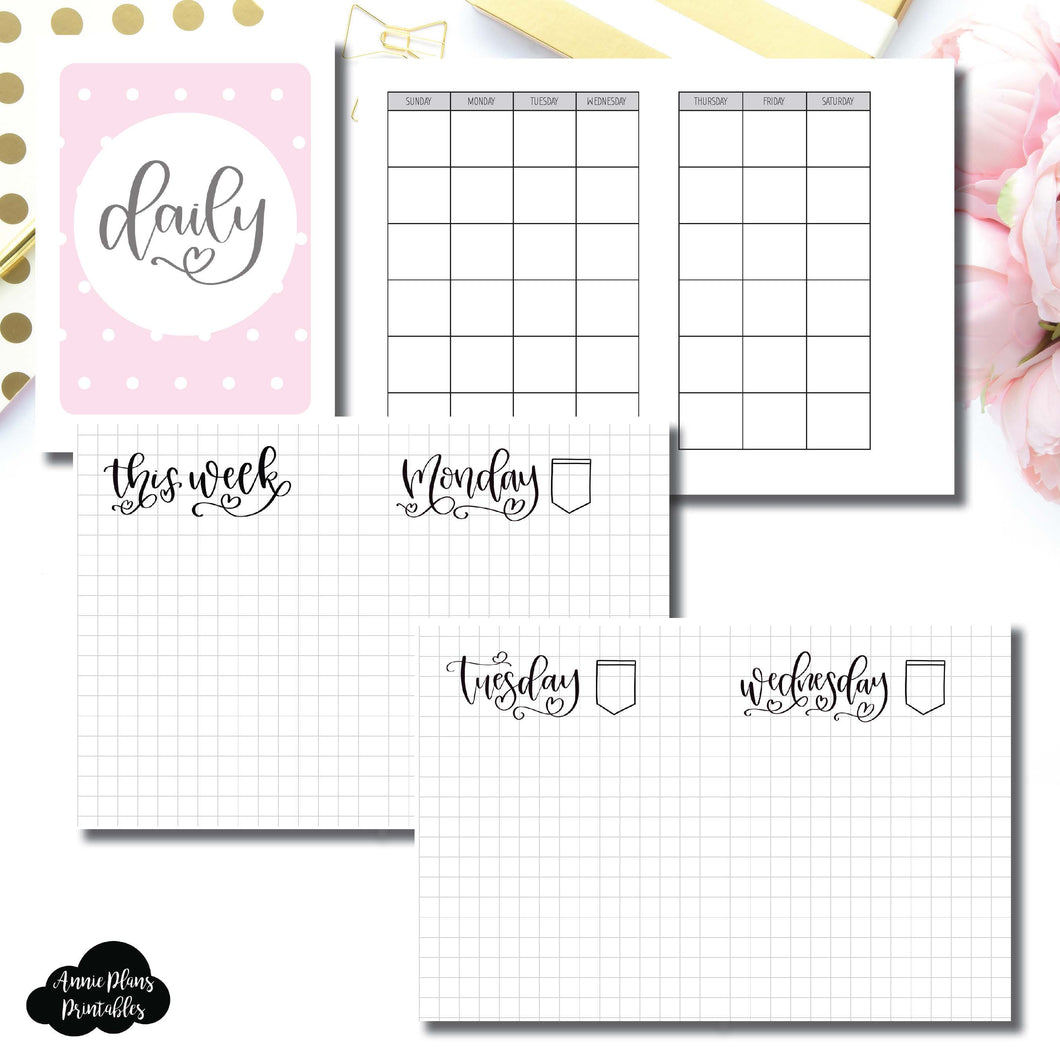Micro TN Size | SeeAmyDraw Undated Daily Grid Collaboration Printable Insert ©