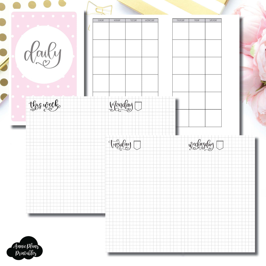 Mini HP Size | SeeAmyDraw Undated Daily Grid Collaboration Printable Insert ©