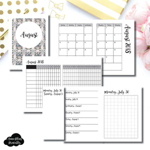 Micro TN Size | AUGUST 2018 | Month/Weekly/Daily GRID (Monday Start) Printable Insert ©