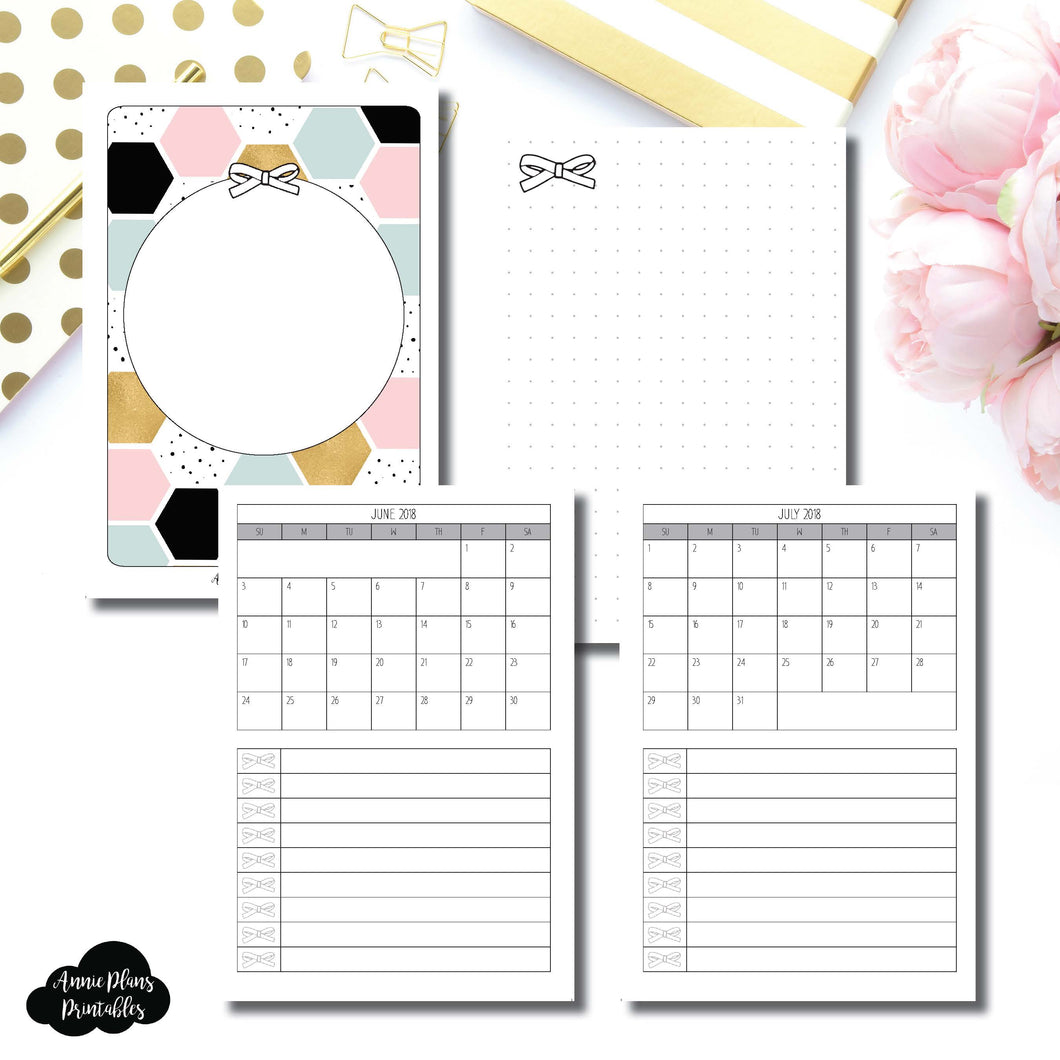 A6 TN Size | JUNE 2018 - JULY 2019 Single Page Monthly Printable Insert ©