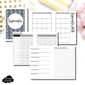 A6 Rings Size | SEPTEMBER 2018 | Month/Weekly/Daily GRID (Monday Start) Printable Insert ©