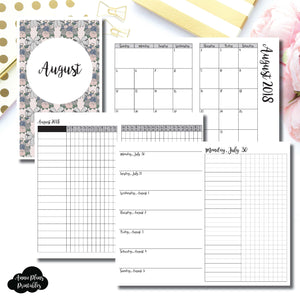 Cahier TN Size | AUGUST 2018 | Month/Weekly/Daily UNTIMED (Monday Start) Printable Insert ©