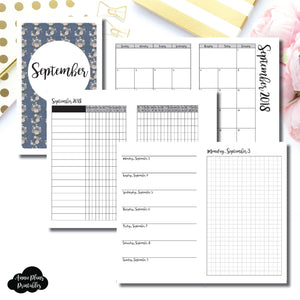 Mini HP Size | SEPTEMBER 2018 | Month/Weekly/Daily GRID (Monday Start) Printable Insert ©