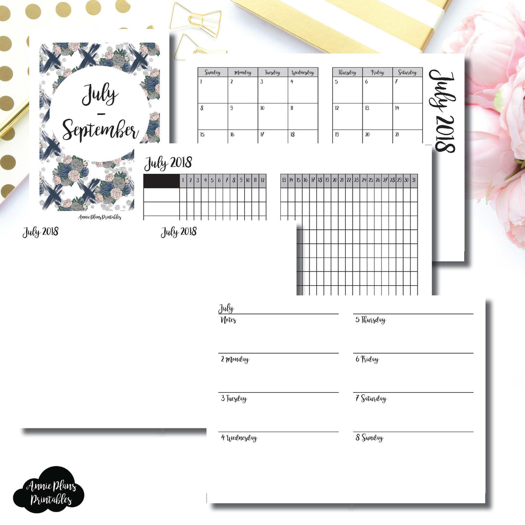 MICRO TN Size | JULY - SEPTEMBER 2018 | Horizontal Week on 2 Page (Monday Start) Printable Insert ©