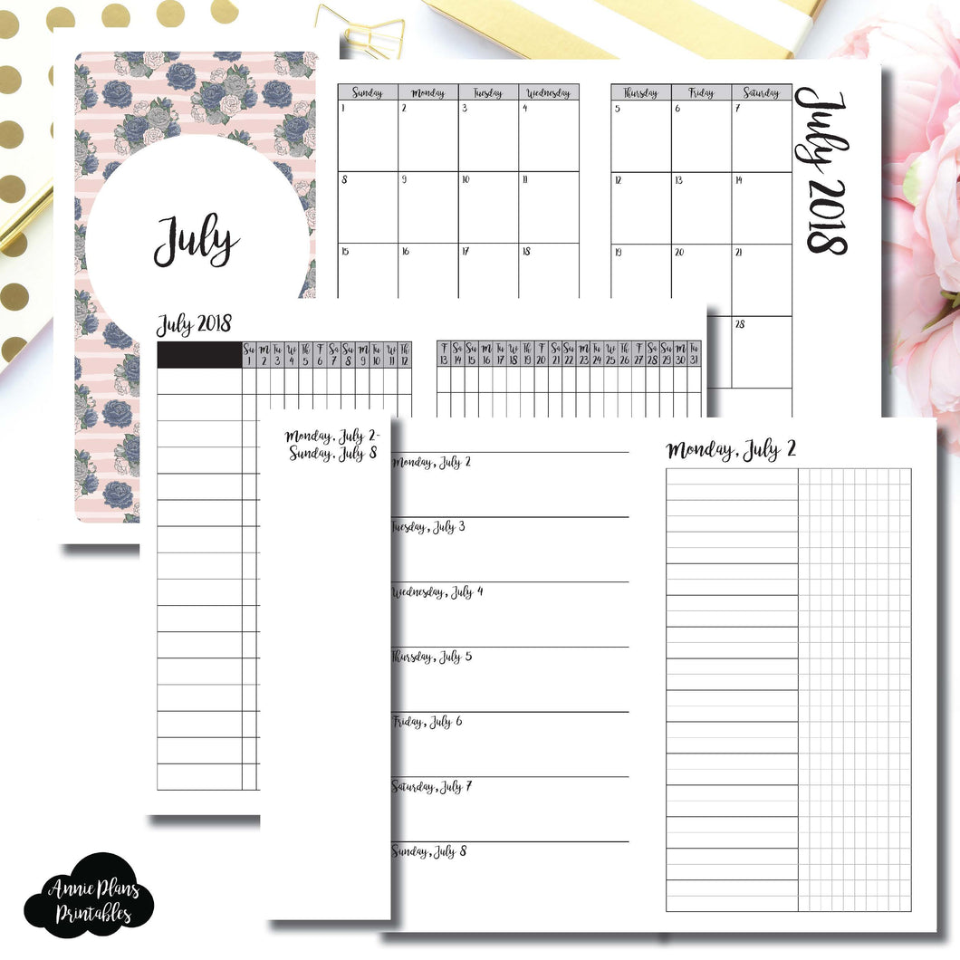 Personal Rings Size | JULY 2018 | Month/Weekly/Daily UNTIMED (Monday Start) Printable Insert ©