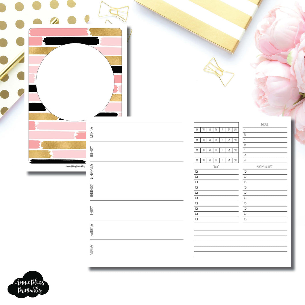 B6 Rings Size | Undated Week on 2 Page with Trackers Printable Insert ©