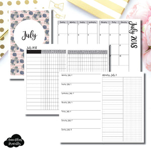 Half Letter Rings Size | JULY 2018 | Month/Weekly/Daily UNTIMED (Monday Start) Printable Insert ©