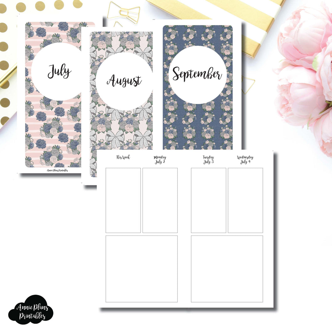 Personal TN Size | JULY 2018 - SEPTEMBER 2018 Basic Vertical Week on 4 Page (Monday Start) Layout Printable Insert ©