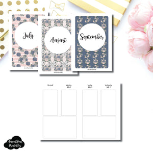 A6 TN Size | JULY 2018 - SEPTEMBER 2018 Basic Vertical Week on 4 Page (Monday Start) Layout Printable Insert ©