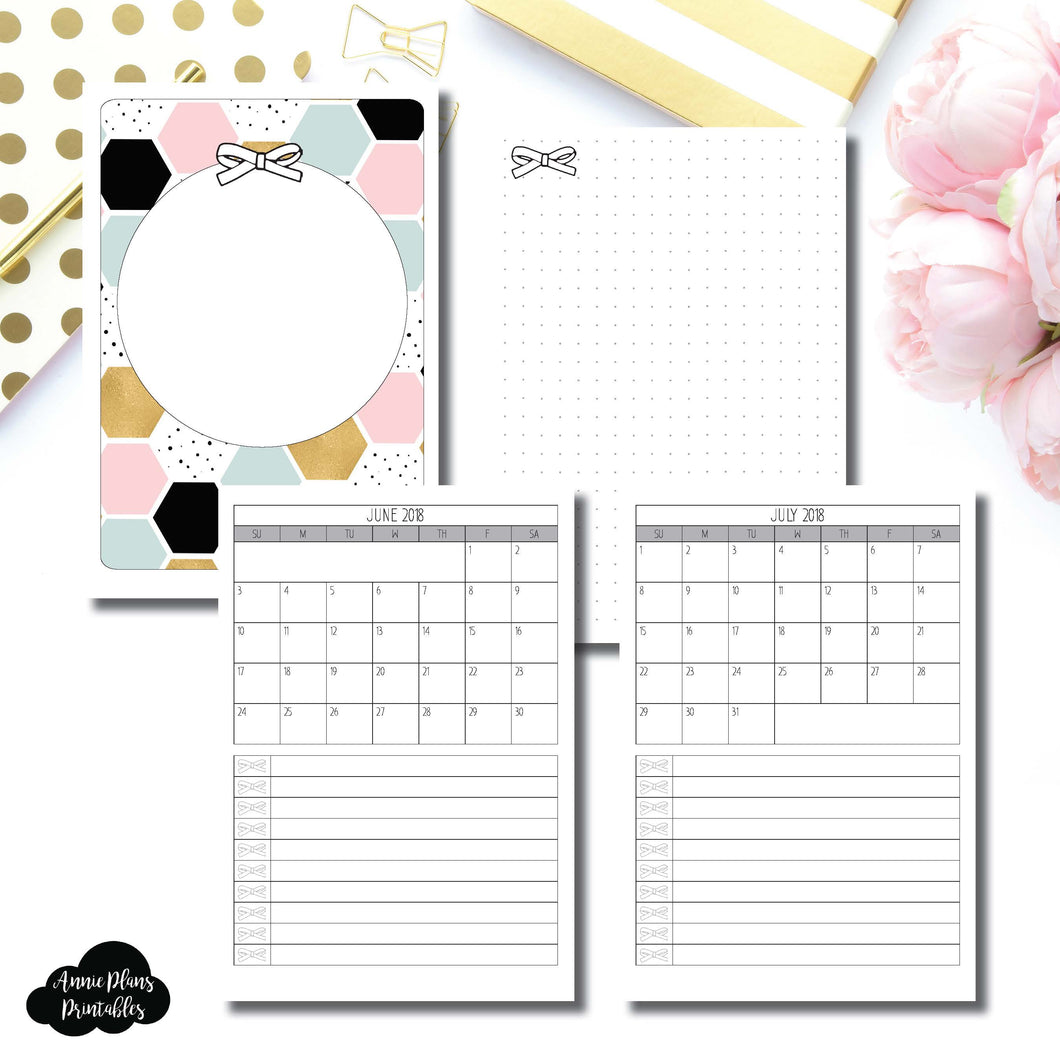 B6 TN Size | JUNE 2018 - JULY 2019 Single Page Monthly Printable Insert ©