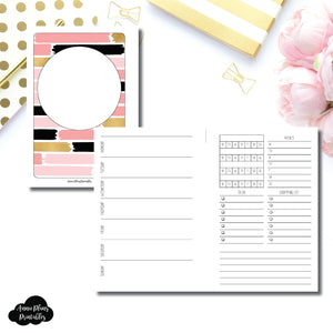 A6 Rings Size | Undated Week on 2 Page with Trackers Printable Insert ©
