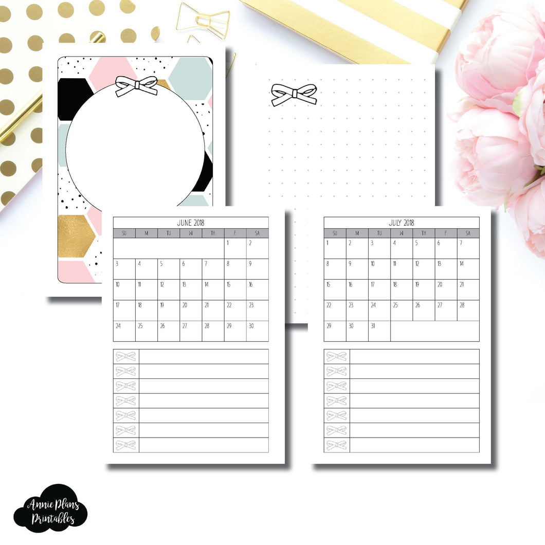 Passport TN Size | JUNE 2018 - JULY 2019 Single Page Monthly Printable Insert ©
