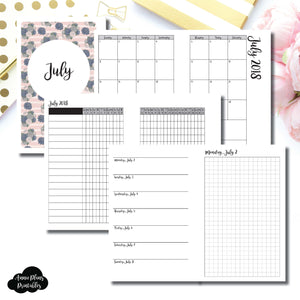 Mini HP Size | JULY 2018 | Month/Weekly/Daily GRID (Monday Start) Printable Insert ©