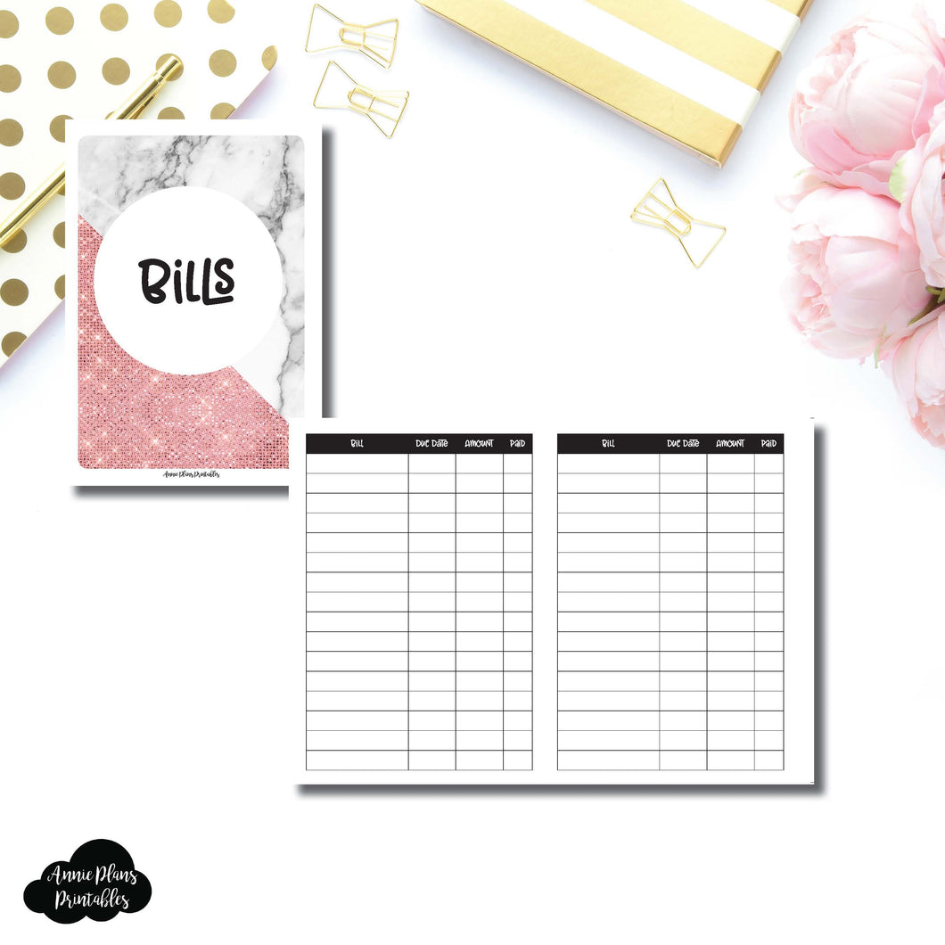 A6 TN Size | Basic Bill Tracker Printable Insert ©
