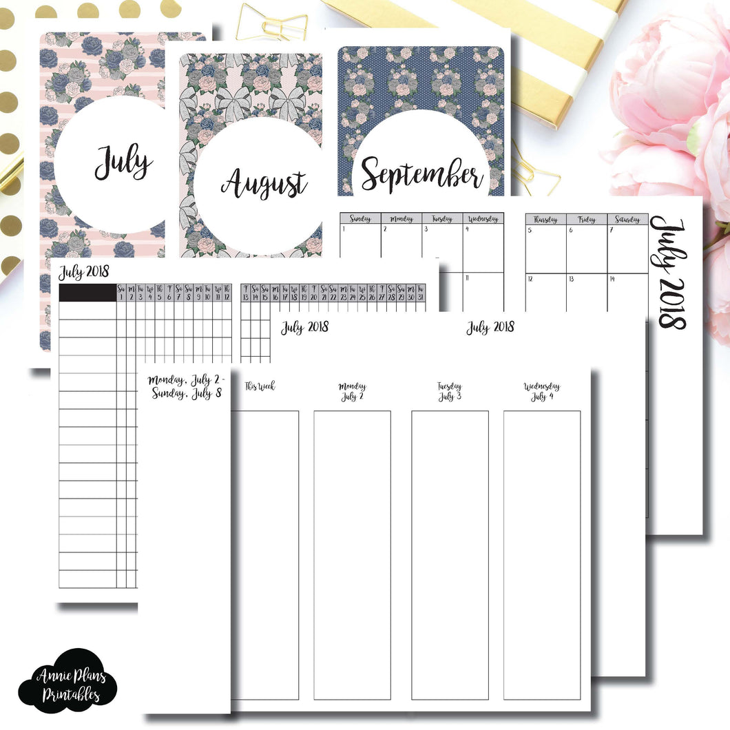 Personal TN Size | JULY - SEPTEMBER 2018 | Week on 4 Pages (Monday Start) Vertical Layout | Printable TN Insert ©