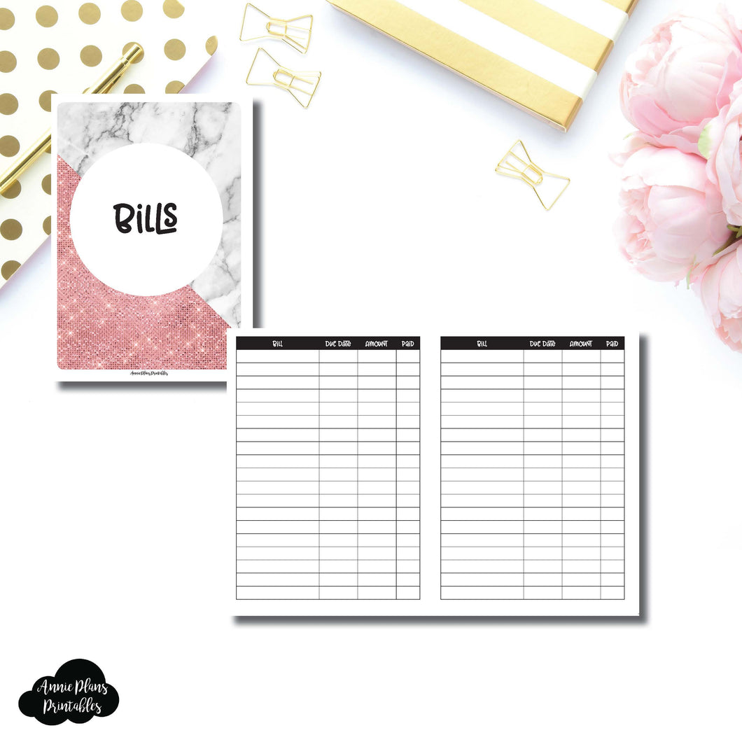 B6 TN Size | Basic Bill Tracker Printable Insert ©