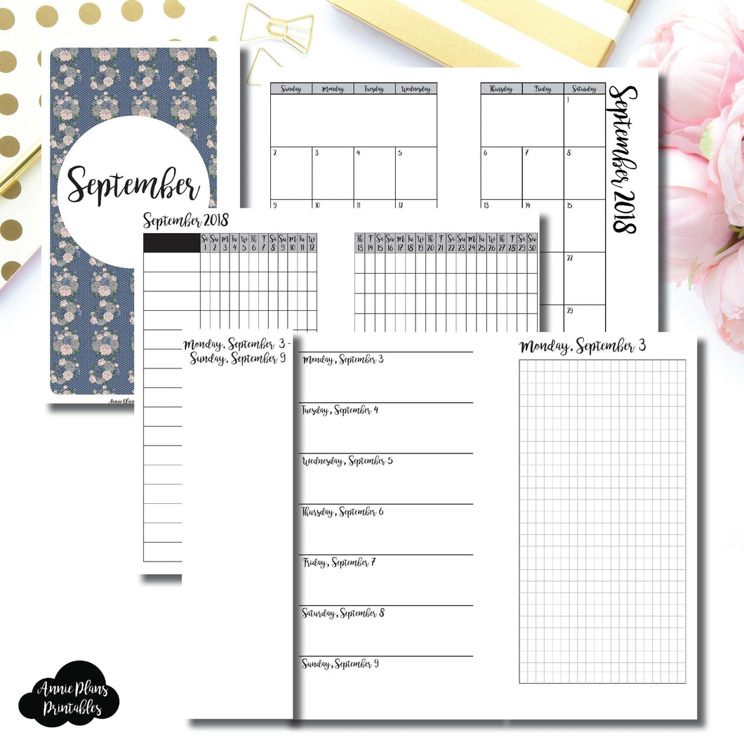 Personal Rings Size | SEPTEMBER 2018 | Month/Weekly/Daily GRID (Monday Start) Printable Insert ©