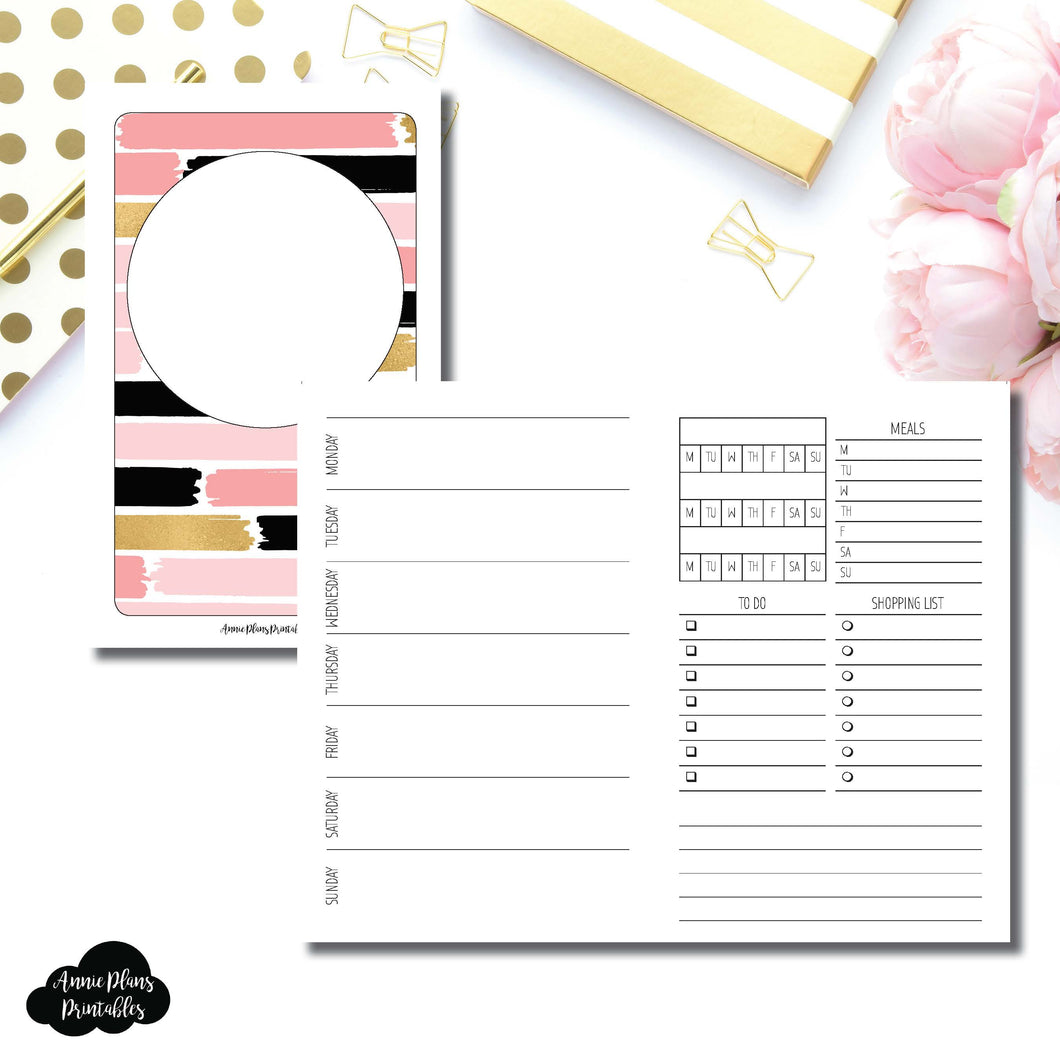 Pocket TN Size | Undated Week on 2 Page with Trackers Printable Insert ©
