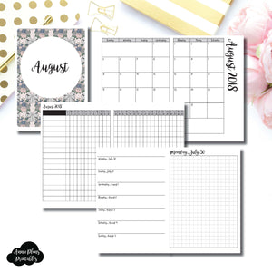 B6 TN Size | AUGUST 2018 | Month/Weekly/Daily GRID (Monday Start) Printable Insert ©