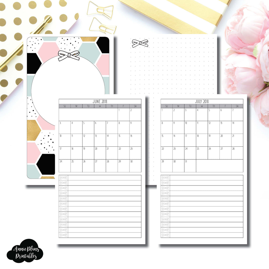 Cahier TN Size | JUNE 2018 - JULY 2019 Single Page Monthly Printable Insert ©
