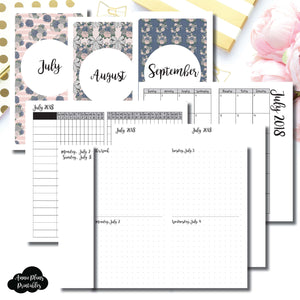Personal TN Size | JULY - SEPTEMBER 2018 | Week on 4 Pages (Monday Start) Horizontal Layout | Printable Insert ©