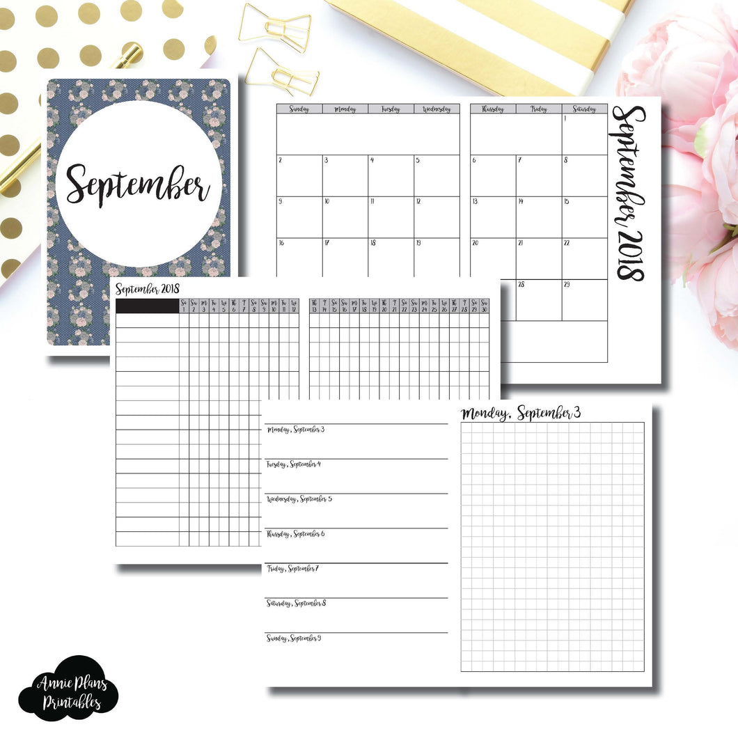 B6 TN Size | SEPTEMBER 2018 | Month/Weekly/Daily GRID (Monday Start) Printable Insert ©