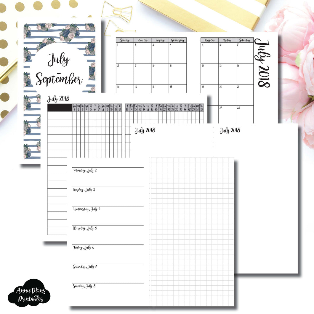 Personal TN Size | JULY - SEPTEMBER 2018 | Horizontal Week on 1 Page + GRID (Monday Start) Printable Insert ©