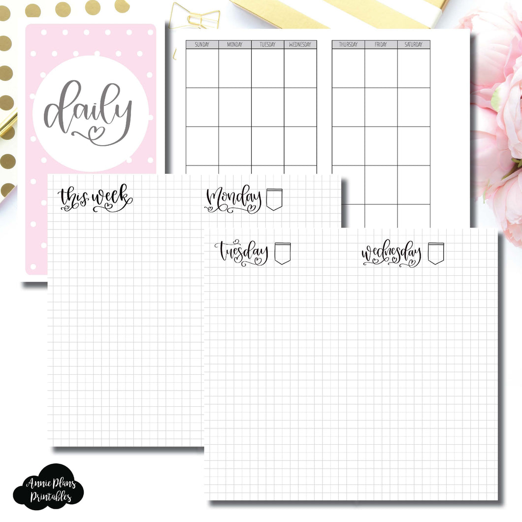 Personal TN Size | SeeAmyDraw Undated Daily Grid Collaboration Printable Insert ©