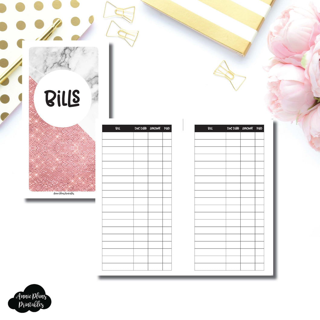 Personal Rings Size | Basic Bill Tracker Printable Insert ©
