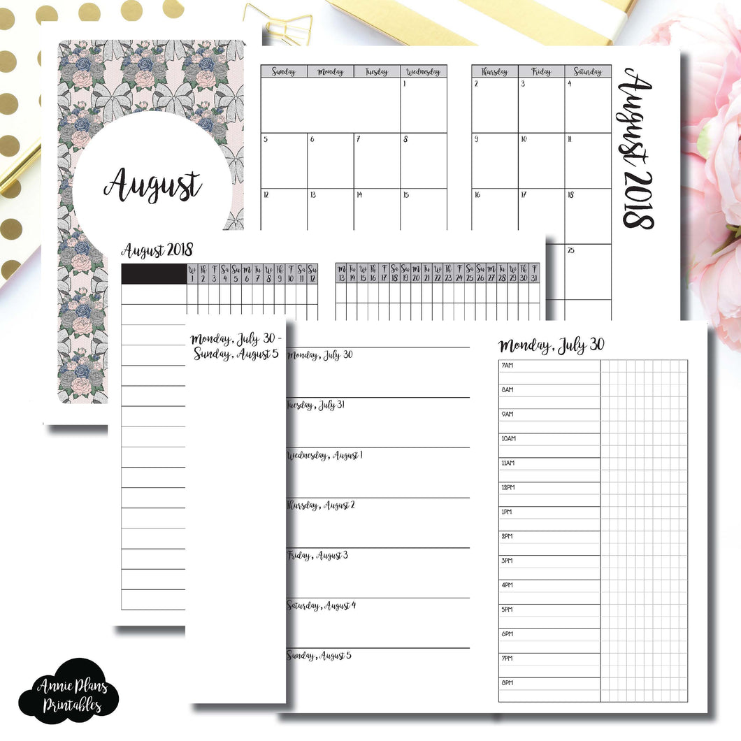 Personal TN Size | AUGUST 2018 | Month/Weekly/Daily TIMED (Monday Start) Printable Insert ©